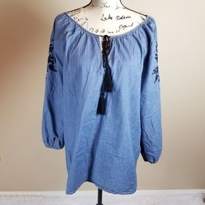 MAYA Ladies Blue Embroidered Cotton Blouse - 20
